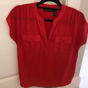 INC Red Short Sleeve Blouse